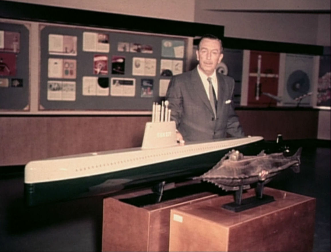 Walt Disney with a model of the real Nautilus