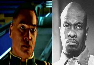 On the left: Anderson as he appears in the game; on the right: Keith David, the awesome actor who voices him