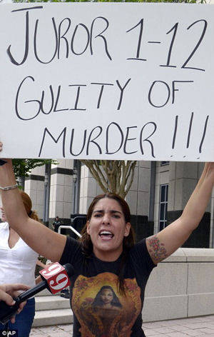 A woman outside the courtroom accusing the jury of murder