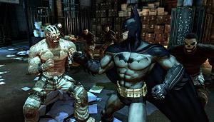 Batman beating up the Joker's henchmen