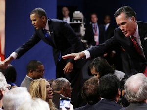 Obama and Romney at the final 2012 debate