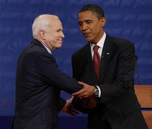 Obama attempting to twist McCain's arm into giving him the election