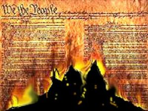 The Constitution on fire