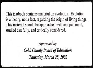 Cobb County Evolution Disclaimer