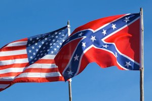 American flag and confederate flag side-by-side