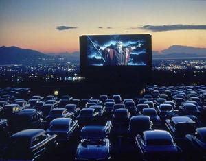 a drive-in showing The Ten Commandments