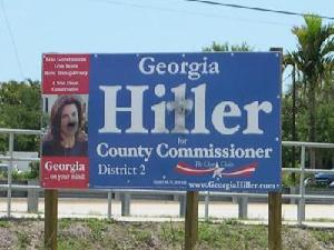 Defaced Georgia Hiller campaign sign