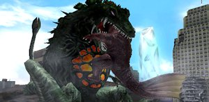 Biollante eating Anguirus