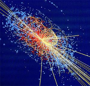 The projected image of what a Higgs Boson would create during a high energy particle collision
