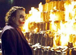 The Joker burns money