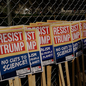 Resist Trump signs from the Socialist Alternative at the March for Science