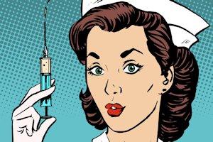 Nurse with needle
