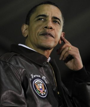Obama in his Air Force One jacket