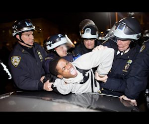 An arrest at a protest in NYC