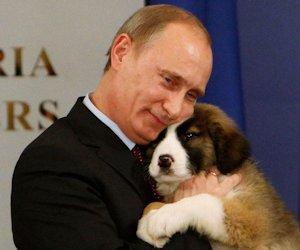 Vladimir Putin with dog