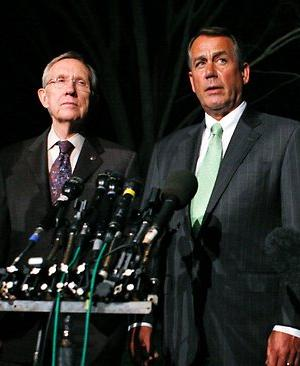 Harry Reid and John Boehner on the night of the 2011 budget deal