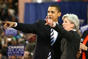 Obama and Kathleen Sebelius