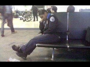 sleeping TSA agent