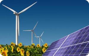 A wind farm and a solar panel