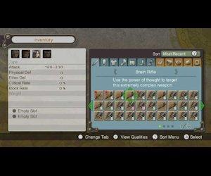 The inventory menu